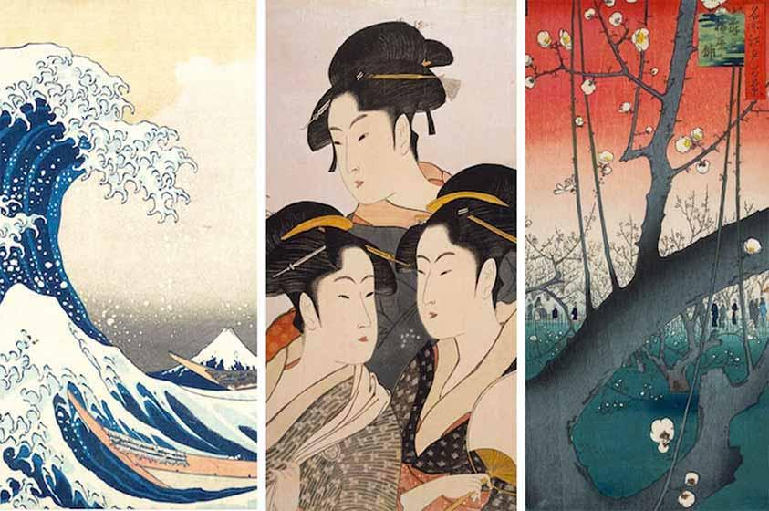 pintura japonesa antigua con tres mujeres